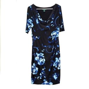 •RALPH LAUREN• Cowl Neck Floral Sheath Dress